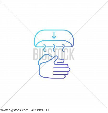 Air Dry Hands Gradient Linear Vector Icon. Hygienic Alternative. Hand-drying Method. Spreading Germs