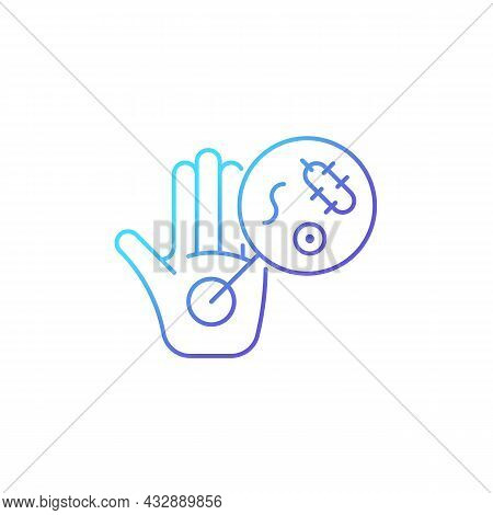 Dirty Hands Gradient Linear Vector Icon. Germs On Unwashed Hands. Spreading Infectious Diseases. Con