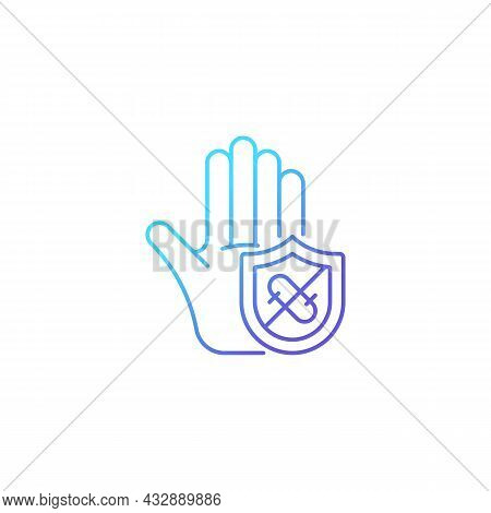 Microbes Protection Gradient Linear Vector Icon. Protect Hands Against Pathogens. Using Antibacteria