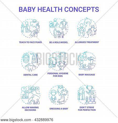 Baby Health Blue Gradient Concept Icons Set. Infant Care Idea Thin Line Color Illustrations. Bringin
