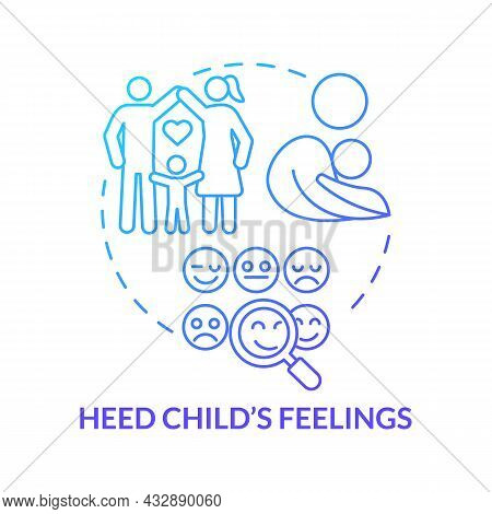 Heed Child Feelings Blue Gradient Concept Icon. Pay Attention To Kid Emotions Abstract Idea Thin Lin