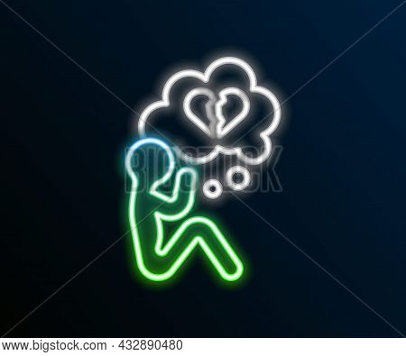 Glowing Neon Line Broken Heart Or Divorce Icon Isolated On Black Background. Love Symbol. Valentines