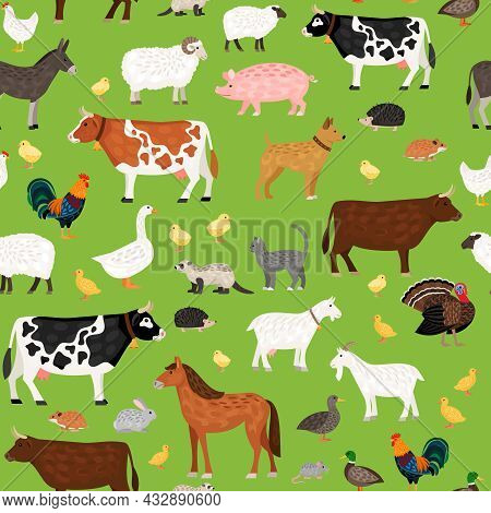 Seamless Vector Pattern With Cute Farm Animals