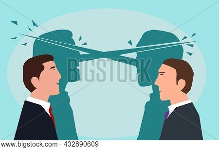 Business Men With Long Nose Lying Each Other. Concept Of Lies In Business. Illustration