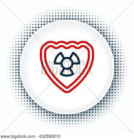 Line Radioactive In Shield Icon Isolated On White Background. Radioactive Toxic Symbol. Radiation Ha