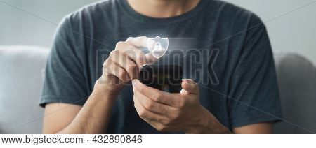 Young Man Hand Touching On Virtual Screen Padlock Icon. Data Protection, Information Privacy, Cybers