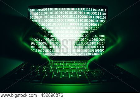 Closeup Of Hacker Is Using The Laptop Computer To Coding Virus Or Malware For Hacking Internet Serve