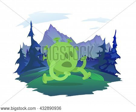 A Cartoon Character Of The Coronavirus Runs Through The Natural Landscape. Forest And Mountains In T