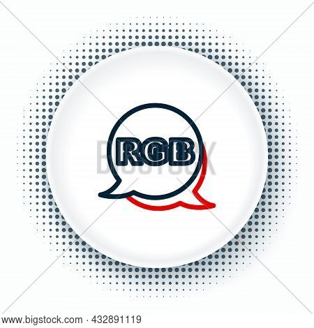 Line Speech Bubble With Rgb And Cmyk Color Mixing Icon Isolated On White Background. Colorful Outlin