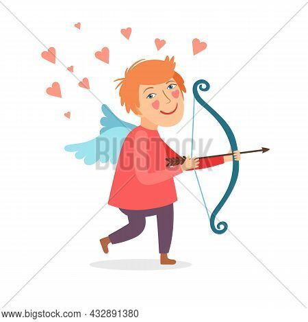 Cute Little Cupid For Valentine Day Greeting Card