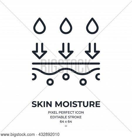 Skin Moisture Editable Stroke Outline Icon Isolated On White Background Flat Vector Illustration. Pi