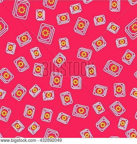 Line Tarot Cards Icon Isolated Seamless Pattern On Red Background. Magic Occult Set Of Tarot Cards.