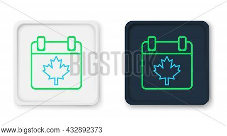 Line Canada Day With Maple Leaf Icon Isolated On White Background. 1-th Of July Independence Day On