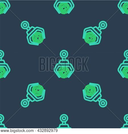 Line Grapple Crane Grabbed A Log Icon Isolated Seamless Pattern On Blue Background. Forest Industry.