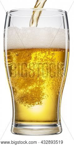 Pouring beer into the beer glass with foam and gas bubbles on white background. File contains clipping path.