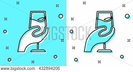 Black Line Wine Tasting, Degustation Icon Isolated On Green And White Background. Sommelier. Smells