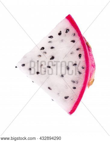 Dragon Fruit Isolated On White Background. Slice Of Pitaya Or Pitahaya Fruit With Clipping Path. Top