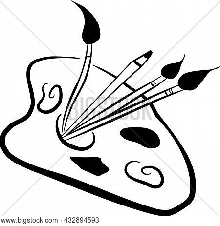 Paint Brushes And Pencil With Paint Palette Ready To Paint