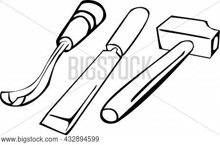 Set Of Carving Tools, Hammer And Chisel