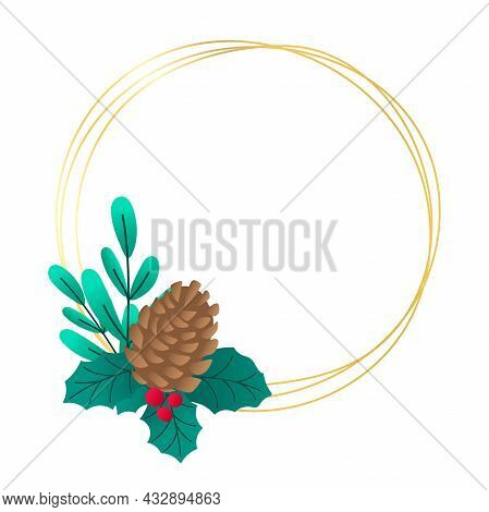 Minimalistic Golden Christmas Round Frame With Fir Cone, Leaves And Berries Isolated On White Backgr
