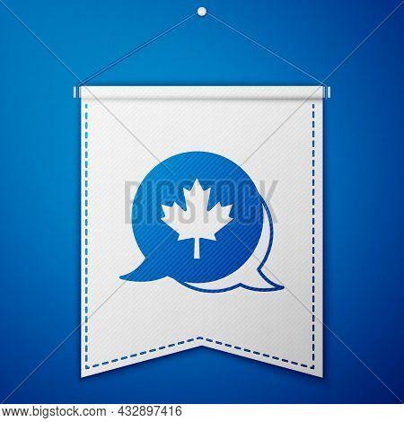 Blue Canadian Maple Leaf Icon Isolated On Blue Background. Canada Symbol Maple Leaf. White Pennant T