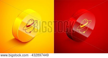 Isometric Canadian Ranger Hat Uniform Icon Isolated On Orange And Red Background. Circle Button. Vec