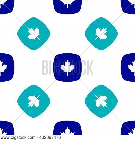 Blue Canadian Maple Leaf Icon Isolated Seamless Pattern On White Background. Canada Symbol Maple Lea