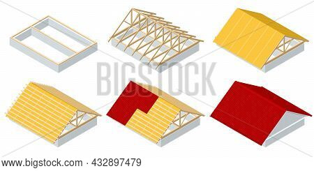 Isometric Roofing Construction. Concept Of Residential Building Under Construction. House Under Cons
