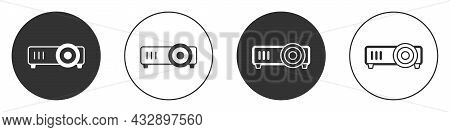 Black Presentation, Movie, Film, Media Projector Icon Isolated On White Background. Circle Button. V