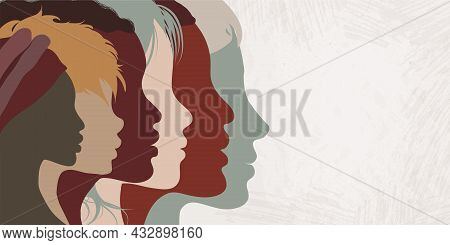 Close Up Silhouette Faces Of Multicultural Multiethnic Female Profile Women.concept Of Racial Equali