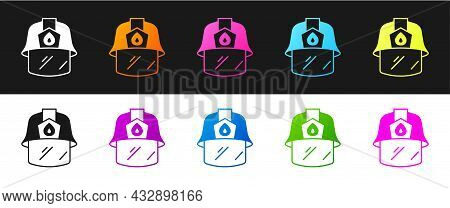 Set Firefighter Helmet Or Fireman Hat Icon Isolated On Black And White Background. Vector