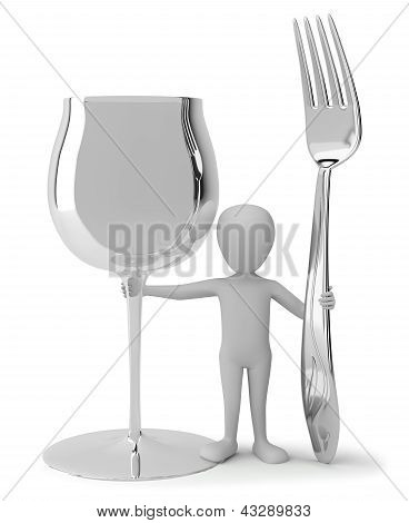 3D Small People - Wine Glass And Fork.