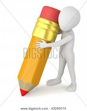 3D Small People - Big Pencil.
