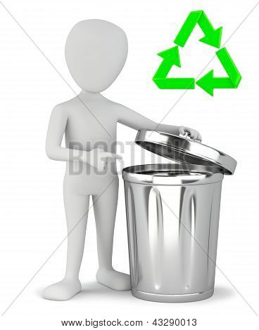 3D Small People - Garbage Recycling.