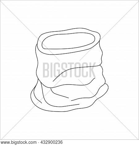 Doodle Scarf Buff Design. Winter Vector Illustration Isolated On White Background.
