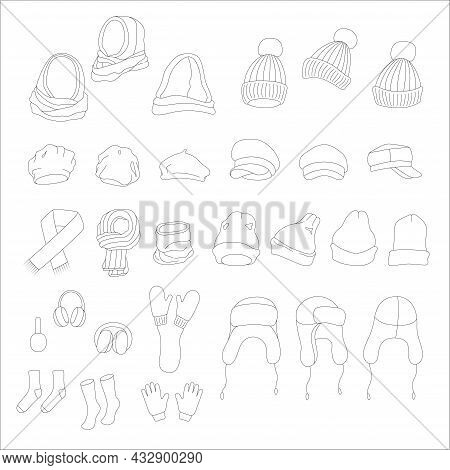 Winter Clothes And Accessories Set. Vector Doodle Illustration.