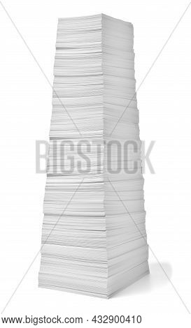 Close Up Of A Stack Of Paper On White Background