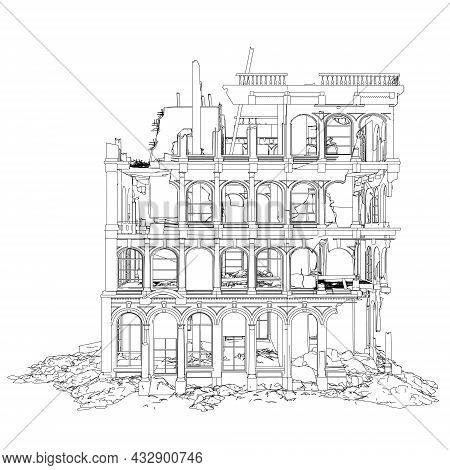 Contour Of A Destroyed Building From Black Lines Isolated On A White Background. Side View. Vector I
