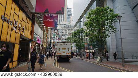 Causeway Bay, Hong Kong 14 May 2021: Hong Kong busy city street