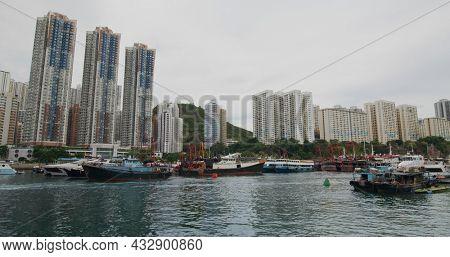 Aberdeen, Hong Kong 27 May 2021: Hong Kong seaside residential