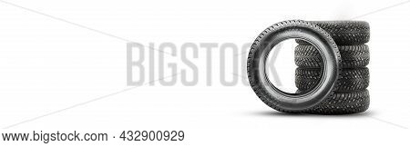Winter Directional Studded Tires Isolate, Set Stack On A White Background Copyspace