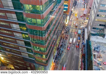Kwun Tong, Hong Kong 23 February 2021: Top view of the city in Hong Kong