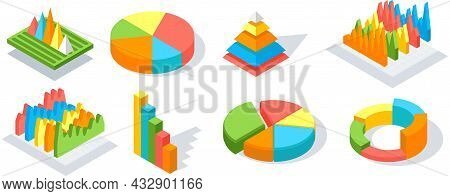 Collection Of 3d Pie Diagrams, Pie Charts. Isometric Infographics. Financial Strategy, Data Research