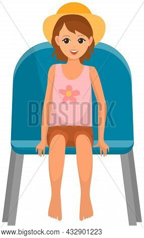 Cute Girl In Hat Sitting On Chair And Watching Show Isolated On White Background. Young Female Chara