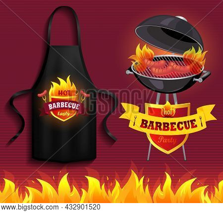 Protective Garment For Cooking. Safety Clothing For Barbecue Cookery. Apparel For Grilling Food. Bla
