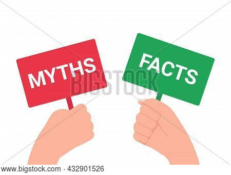 Hand Holds Plate Sign With Inscription Word Myth And Fact. Truth Or Lie Choice. Think And Choice Rig