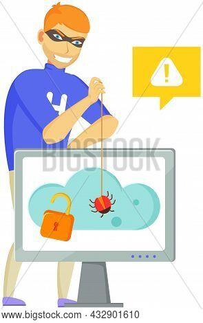 Hacker Attack. Hacker Breaks Into Computer. Cyber Attacker Cracker Trying To Hack Laptop Password. B
