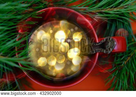 Cup With Beautiful Christmas Lights Of Bokeh Inside. Christmas Minimal Still Life, Copy Space