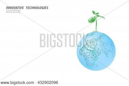 Plant Sprout Ecological Abstract Concept. 3d Render Seedling Tree Leaves. Save Planet Earth Nature E