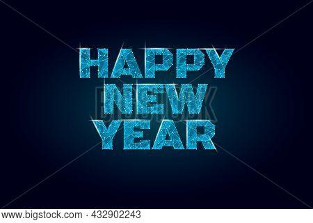 Geometric Polygonal 2022 New Year Greeting Card. Low Poly Triangle Future Technology Dark Blue Backg